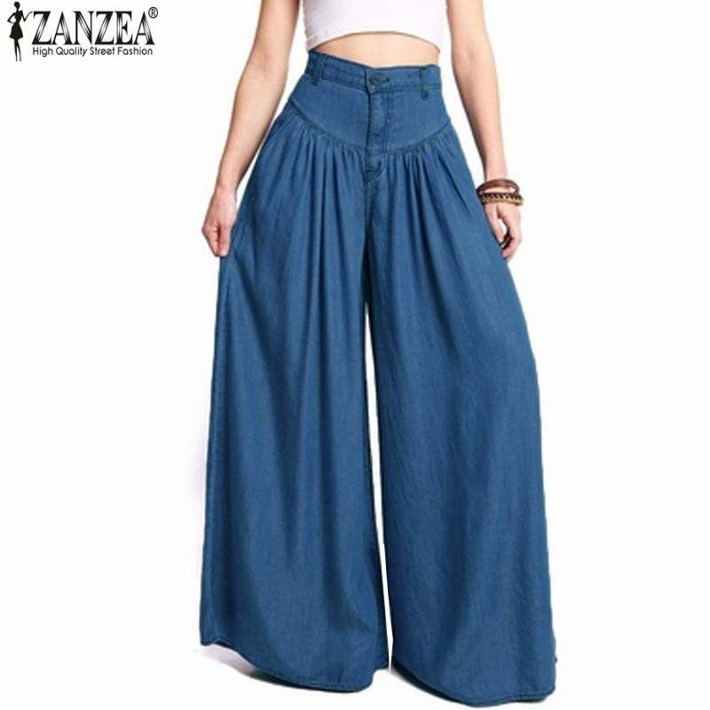 2018 ZANZEA Trousers Women High Waist Long Harem Pants Pockets Loose Pleated Denim Blue <font><b>Wide</b></font> Leg Pants Party Palazzo Plus Size