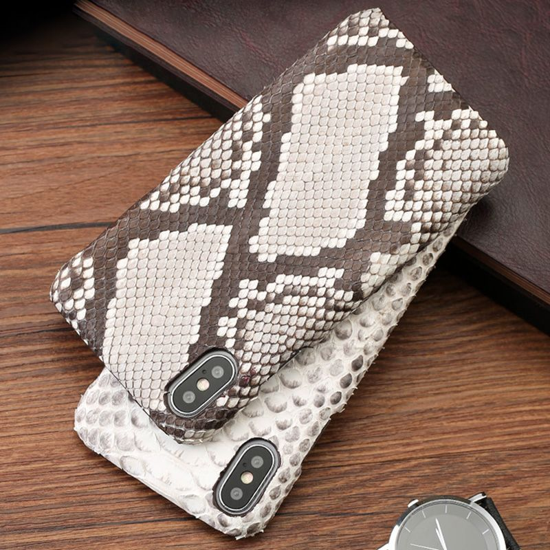 Genuine leather Phone case For iPhone X 7p 8p case Natural Python Skin Ultra Slim back cover For 6 6S 7 8 Plus 5 5S SE cases