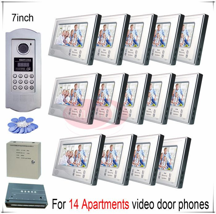 For 14 Apartments video door phones door bells intercom systems support Inductive Card/Password unlocking function