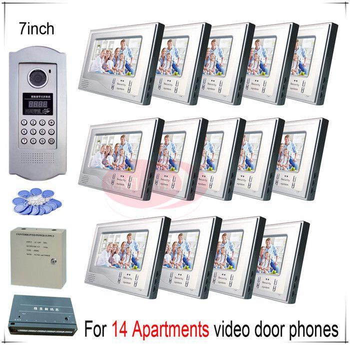 For 14 Apartments video door phones door bells intercom systems support Inductive Card/Password unlocking function