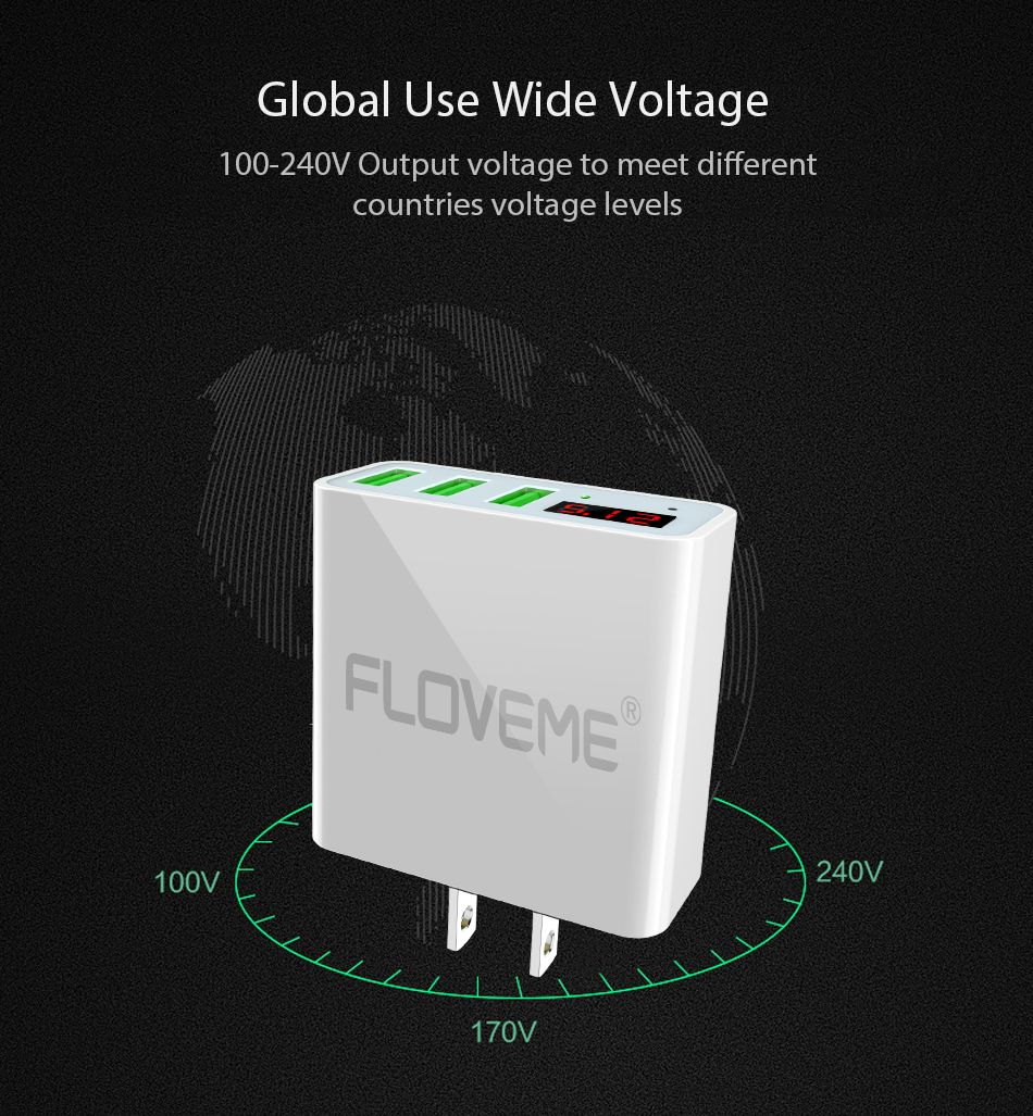 FLOVEME USB Charger Travel Wall Fasting Charging USB Adapter 5V 3A 3 Ports LCD Display For iPhone Samsung Huawei Charger Laptop (12)