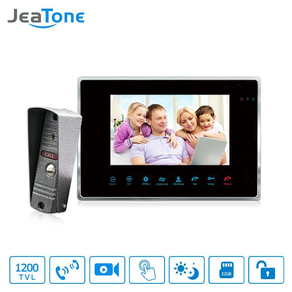 JeaTone 7'' Wired Video Door Phone Intercom 1200TVL Dual-way Remote Unlocking Night Vision Home Security Intercom System