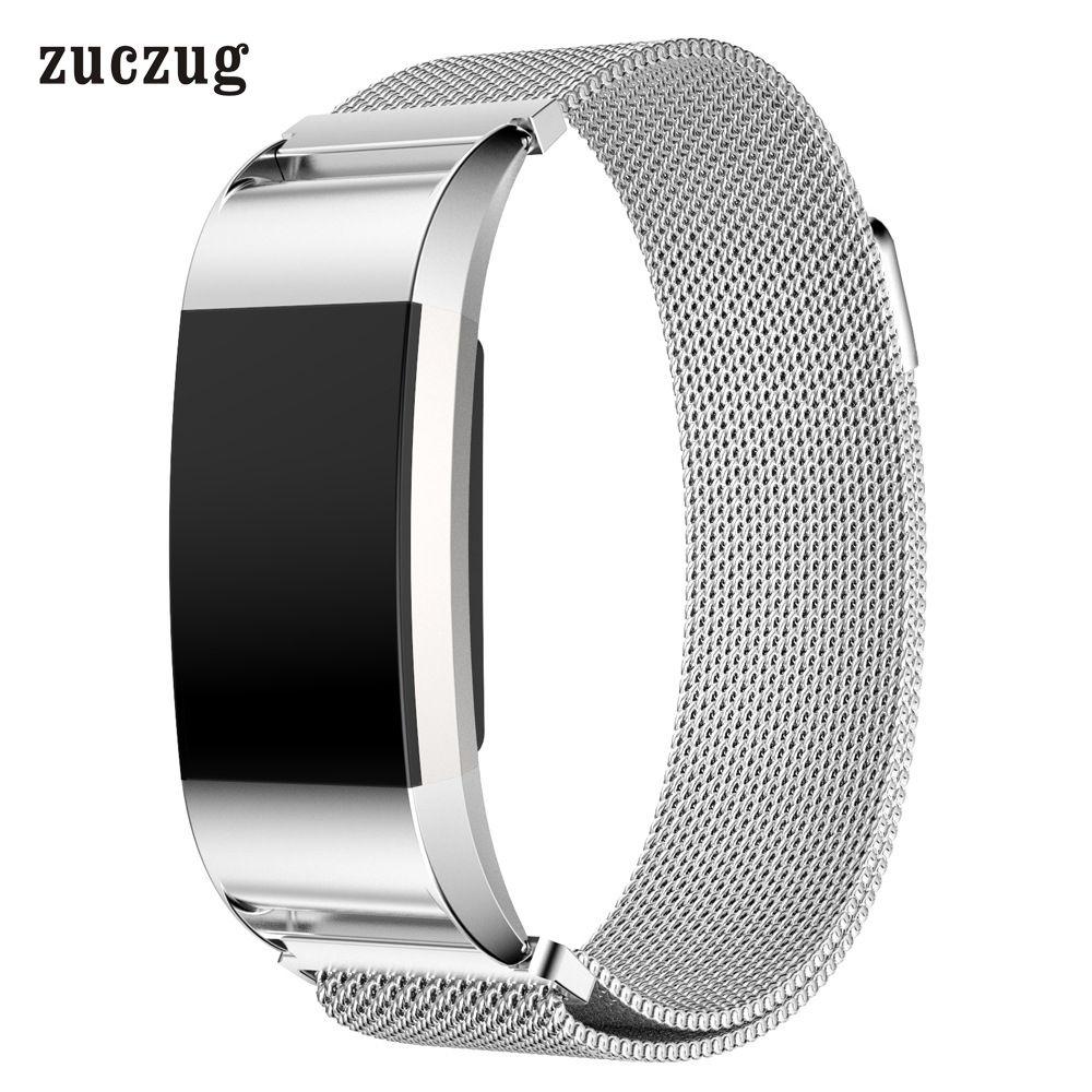 Zuczug De Luxe Magnétique Milanese Acier Inoxydable Boucle Dragonne Réglable Fermeture Remplacer Bracelet Band pour Fitbit Charge 2