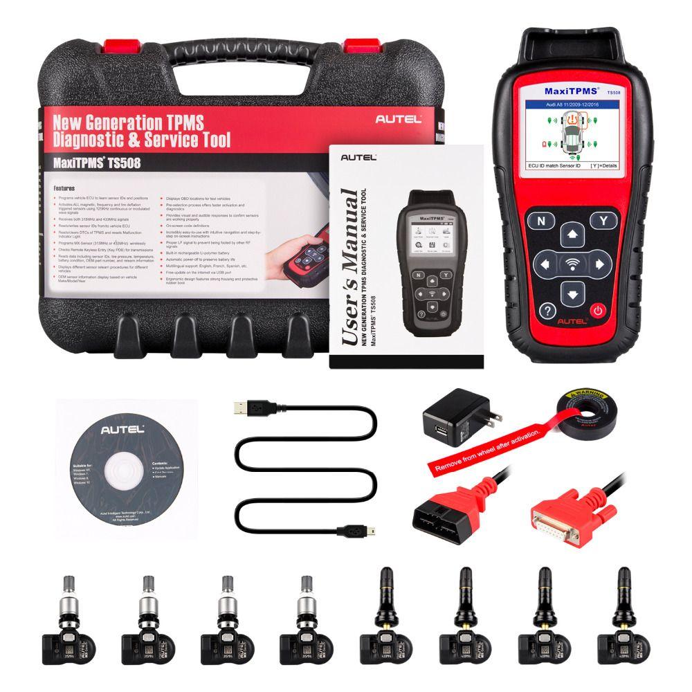 Autel TS508K Premium TPMS Service Tool Activate Tire Pressure Sensor Program ECU With 315MHz & 433MHz Programmable Sensors