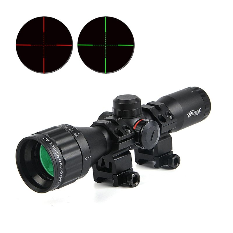WALTHER 6X32 AOE Tactical Scope Riflescopes Optics Hunting Scope Red&Green Dot Illuminated Reticle Fiber Sight Riflescope