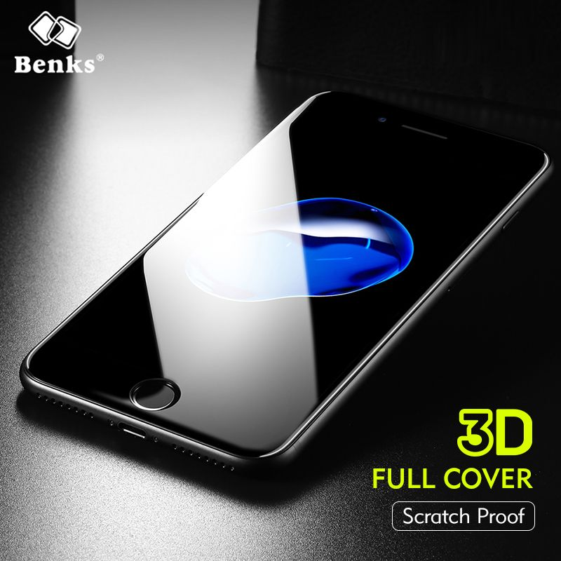 Benks Anti-Scratch Sapphire Coating Screen Protector 0.3mm 3D Curved Edge Full Cover Glass For iPhone 7 8 Plus Protective Glass