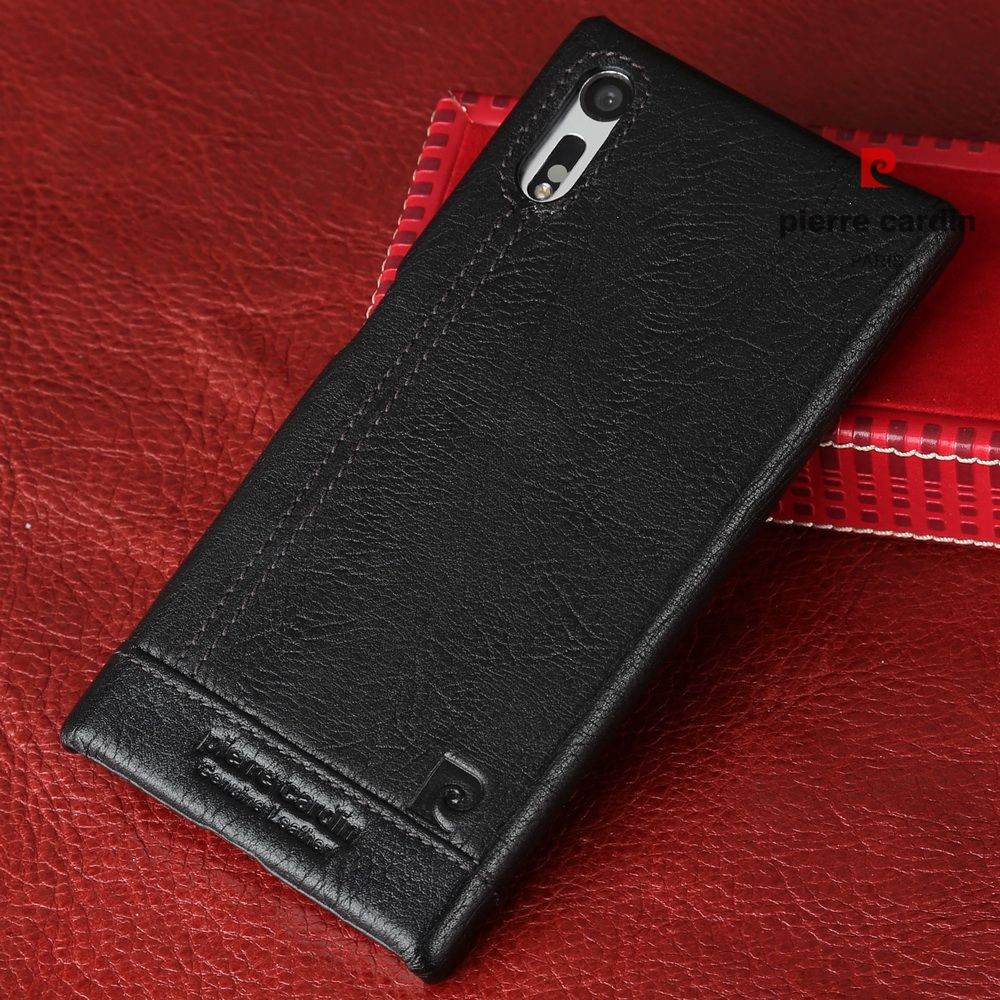 Pierre Cardin d'origine pour Sony Xperia XZ étui de luxe en cuir véritable couverture rigide pour Sony Xperia XZ F8331 XZ double coques de téléphone
