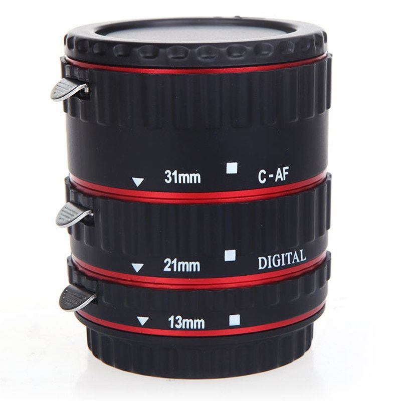 TTL Auto Focus AF Macro Extension Tube Ring for Canon EF EF-S lenses Red