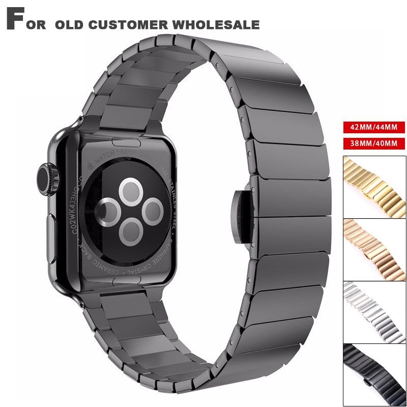 Stainless steel Band Strap for Apple Watch 4 3 link bracelet to iwatch 4 3 38 40 42 44mm Butterfly clasp Lock Link loop band