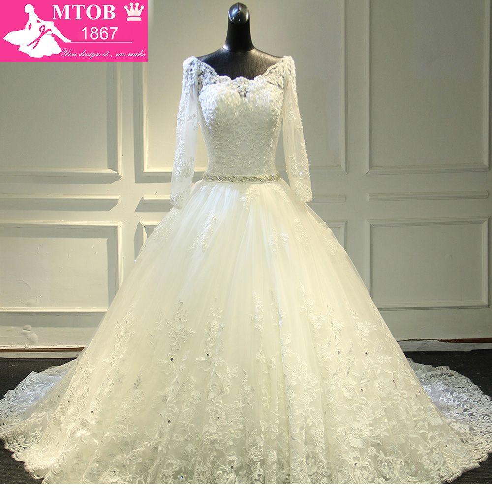 Wunderschöne Lange Kathedrale Zug Dicke Spitze Luxuriöse kristall Hochzeit Kleider Volle Ärmeln Robe De Mariage braut kleider MTOB1762