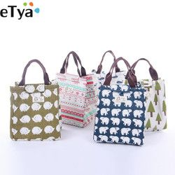 Fashion Canvas  Women Insulated lunch bag Bag Lunch box  Thermal Food Picnic Lunch Pouch for kids Cooler Storage Bag Bag