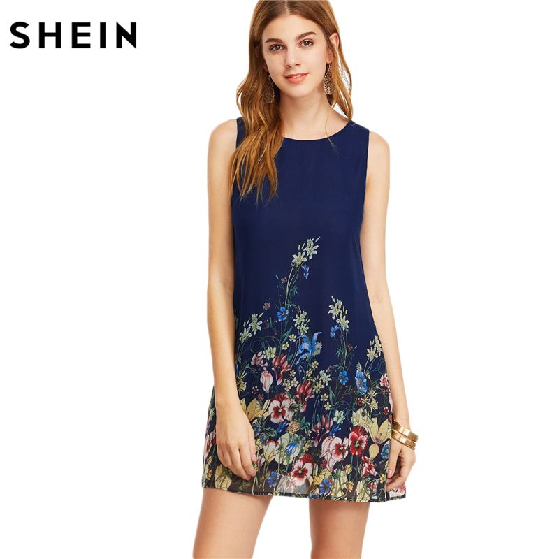 SHEIN Womens Dresses New Arrival 2017 Navy Buttoned Keyhole Back Flower Print Scoop <font><b>Neck</b></font> Sleeveless A Line Dress