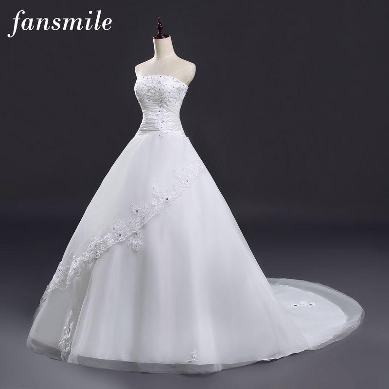 Fansmile 2017 Long Train Lace Wedding Dresses Princess Bride Plus Size Vintage Belt Ball Gown Wedding Free Shipping