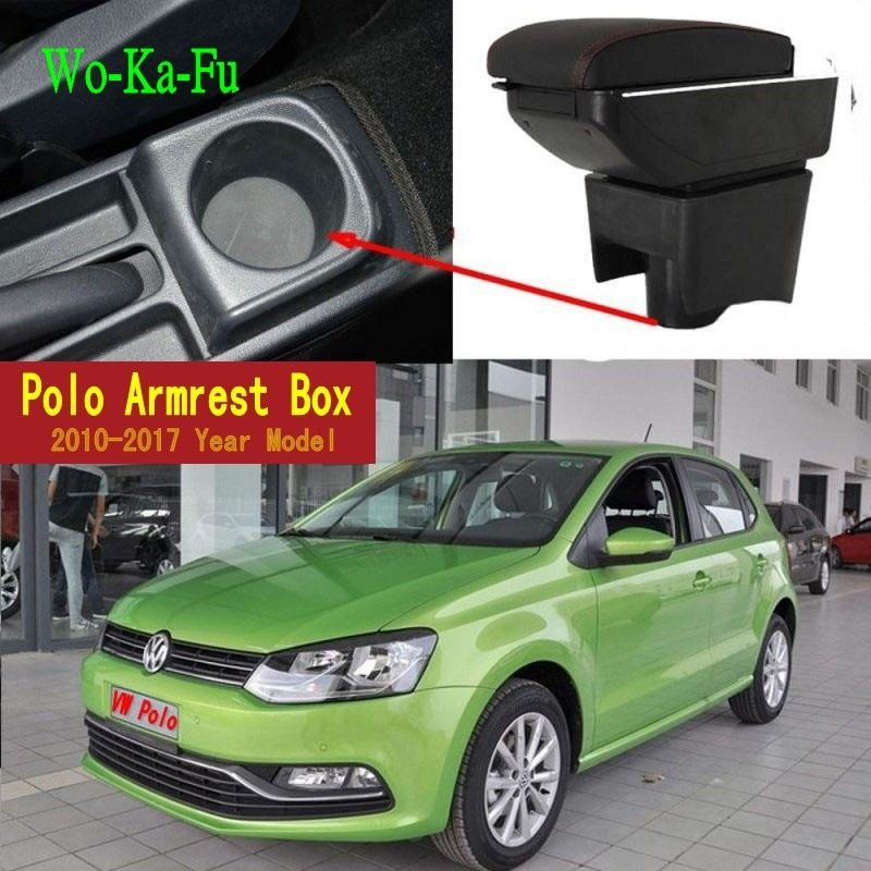 Car Armrest Case For VW Polo 2011-2016 Armrest Central Store Content Storage Box With Cup Holder Ashtray