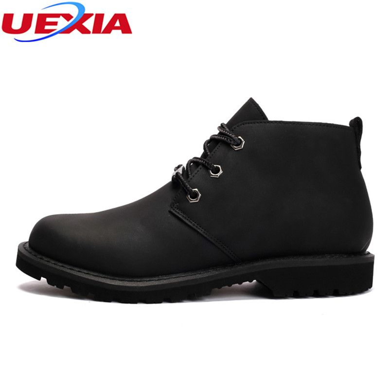 UEXIA Men Boots Crazy Leather Martin Men Autumn Work Winter Shoes Ankle Boots Western Winter Fashion British Dress Boots Cowboy