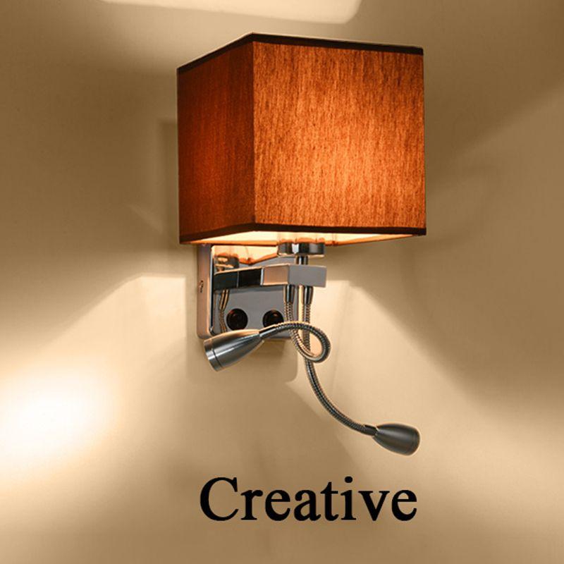 Moderne LED Stoff + Eisen Wandleuchte dekoration doppelrohr E27 schalter beleuchtung Schlafzimmer lesenachtwandleuchten schwarz/weiß/braun/leinen