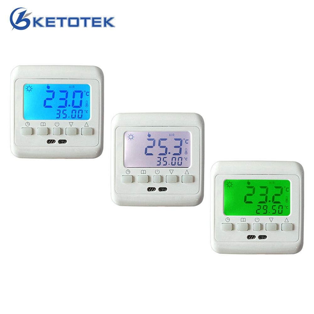 New Underfloor Heating Thermostat with White Backlight LCD Keys Weekly Programmable Room Warm Temperature Controller