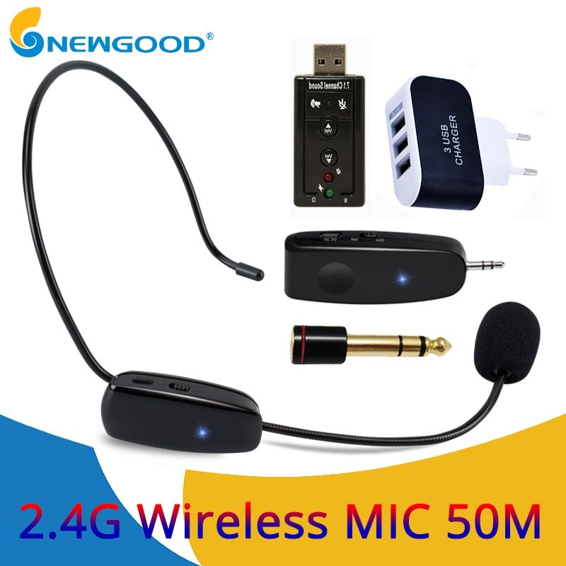 Professional Mini 2.4G Wireless Microphone Systems Speech Headset Megaphone Mic For Loudspeaker Teaching Meeting Tour Guide