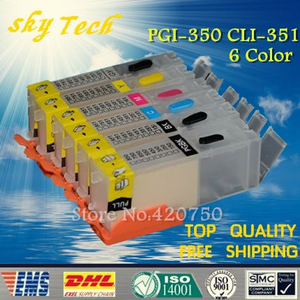 6PK Empty Refillable Cartridge suit for PGI350 CLI351 ,Suit for canon MG5430 IP8730 MG6330 MG6530 MG7130 iP7230,with ARC chip