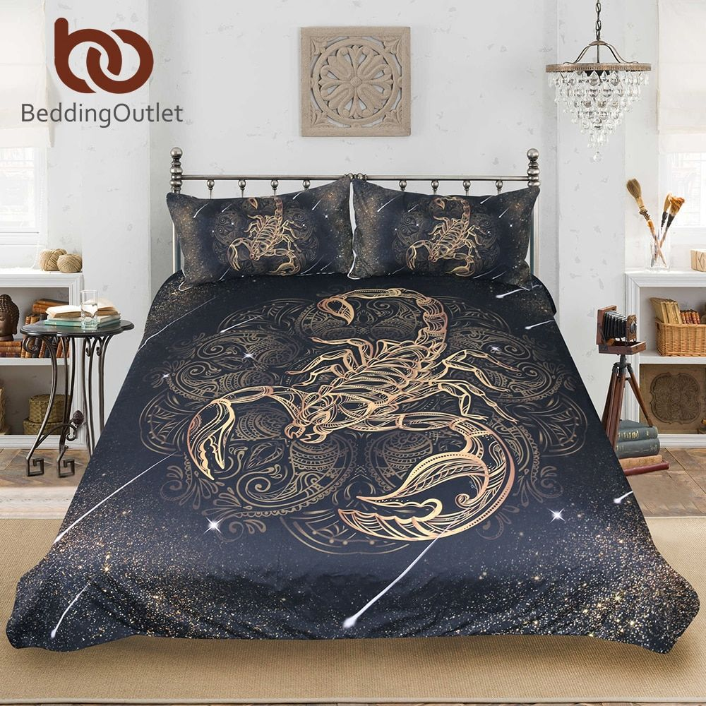 BeddingOutlet <font><b>Gold</b></font> Scorpion Bedding Set Queen Meteor Scorpio Duvet Cover Constellation Bed Set Bohemian Print Black Bedclothes
