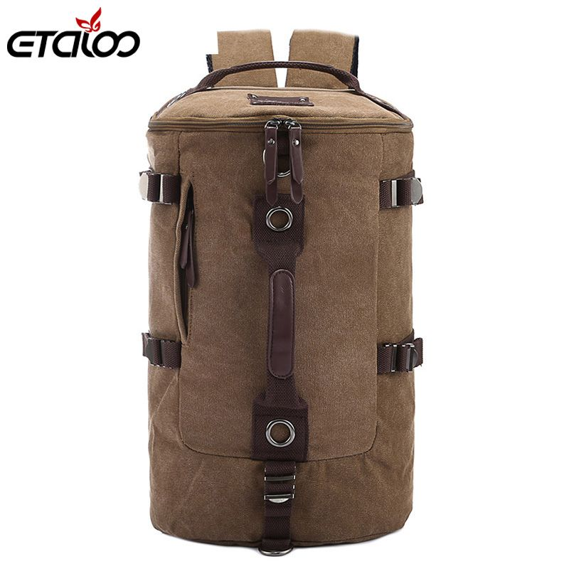 <font><b>Large</b></font> Capacity Man Travel Bag Mountaineering Backpack Men Bags Canvas Bucket Shoulder Backpack 012