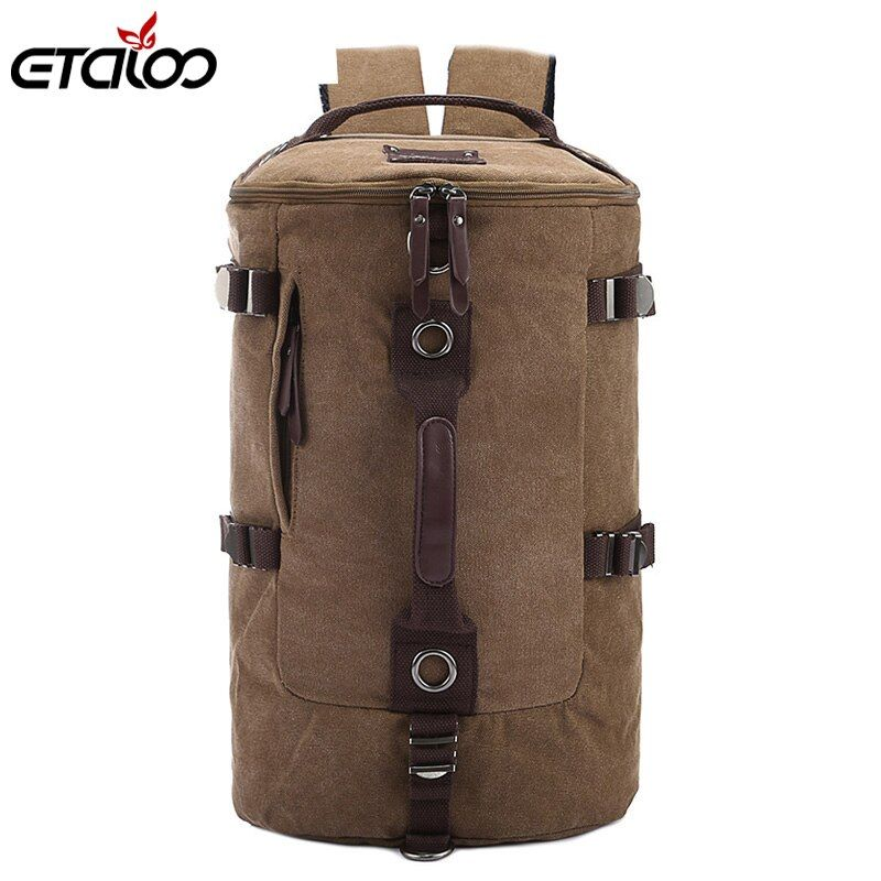 Large Capacity Man <font><b>Travel</b></font> Bag Mountaineering Backpack Men Bags Canvas Bucket Shoulder Backpack 012