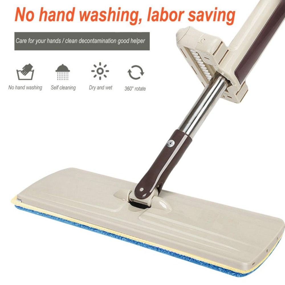 Lazy <font><b>Hand</b></font> wash-Free Flat Mop Wood Floor Household clean tools <font><b>Hands</b></font>-Free Telescopic Washing Mop with spare mop head