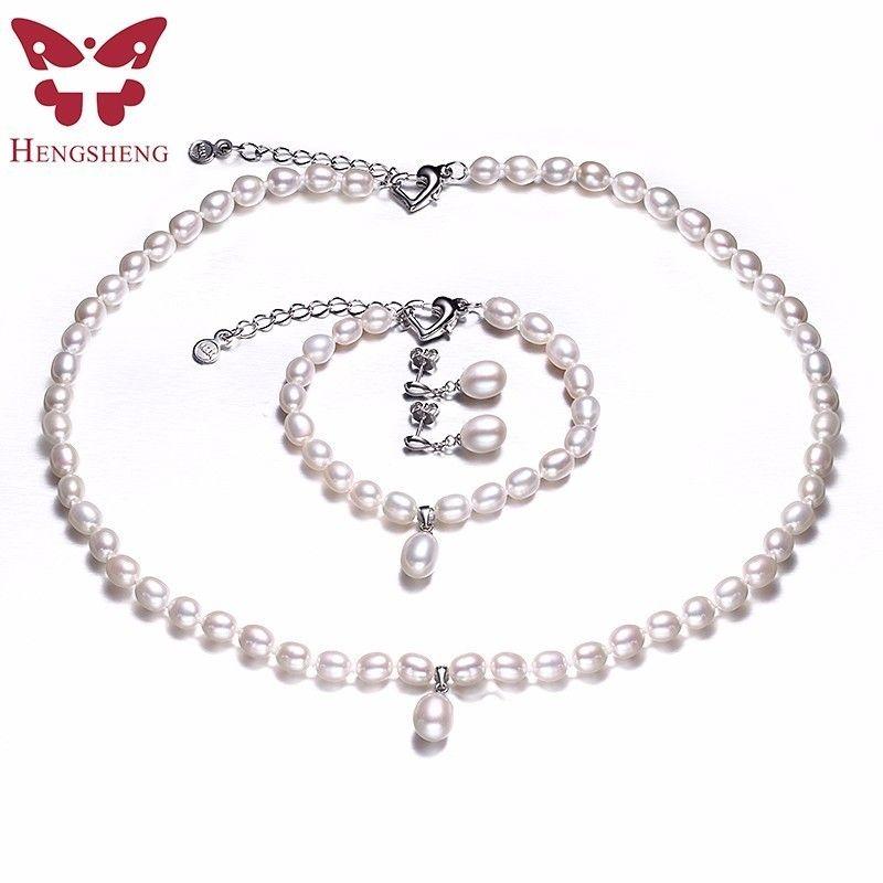 HENGSHENG AAAA Naturel D'eau Douce Perle Ensemble de Bijoux De Mode/Élégant Collier Bracelet Boucles D'oreilles Pour Les Femmes pour la partie/mariage/cadeau