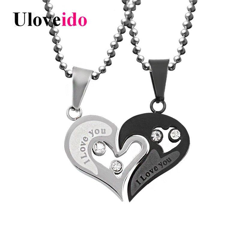 Herren Edelstahl Kette Schwarz Herz Liebe Halsketten für Paare Korean Damenmode Trendy Gepaart Suspension Anhänger Modell