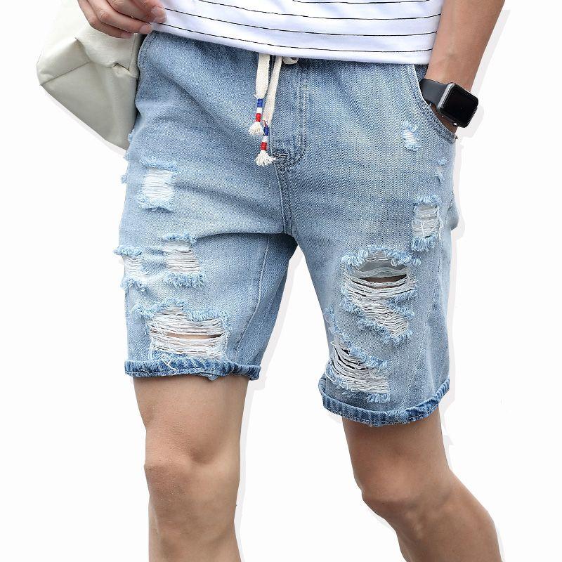 Nouveau mode loisirs hommes déchiré court Jeans marque vêtements été 98% coton Shorts respirant déchirement Denim Shorts mâle