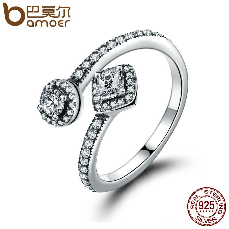 BAMOER 100% 925 Sterling Silver Round & Square Dazzling CZ Open Finger Ring for Women Wedding Engagement Jewelry Anel PA7626