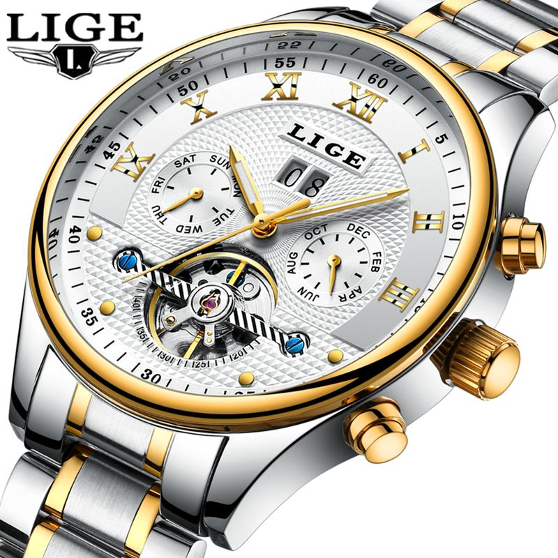 2018LIGE Mens Watches Top Brand Luxury Men's Automatic Mechanical Watch Men's Stainless Steel Waterproof Watch Relogio Masculino