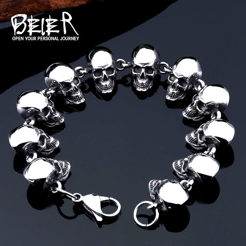 2017 New Cool Punk Difference Size Skull Bracelet For Man 316 Stainless Steel Man's High Quality Jewelry BC8-036