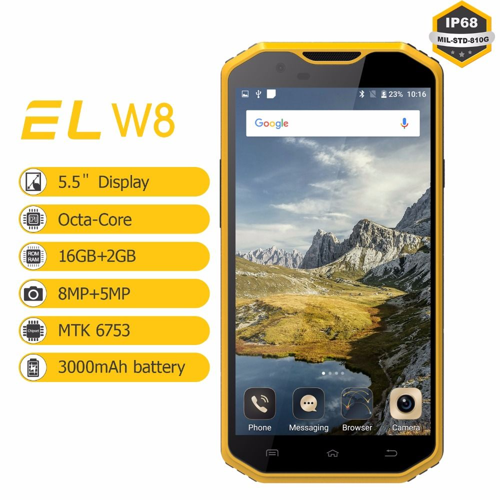 4g Wasserdichte Handy Original EL W8 5,5 zoll HD 2 gb Ram 16 gb Rom Handys Android 6.0 Stoßfest entsperrt Handy Lte