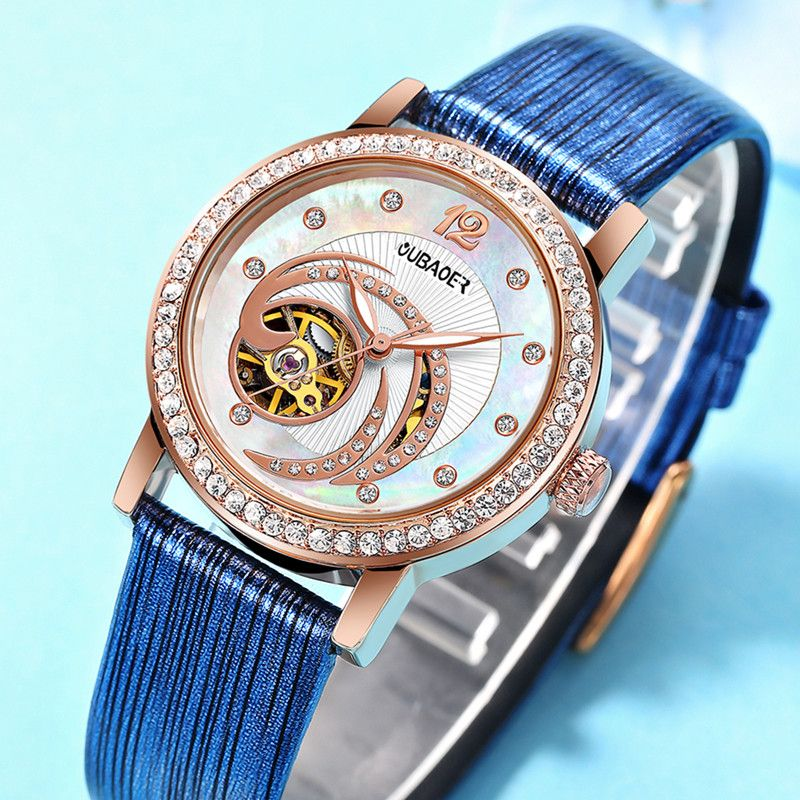 OUBAOER Female Rose Gold Automatic Self-Wind Mechanical Watches Women Genuine Leather Strap Watch Fashion Ladies Montre Femme