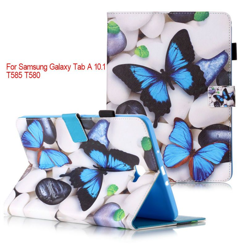 Fashion stand pu leather cover case For Samsung Galaxy Tab A 10.1 2016 T580 T585 SM-T580 T580N Tablet cases+flim+stylus pen KF55