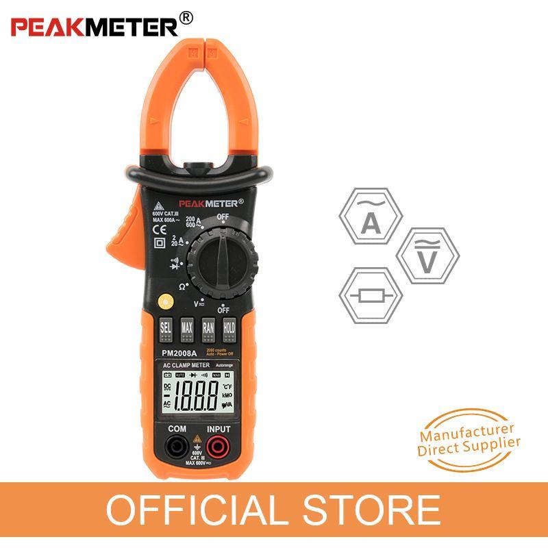 PEAKMETER PM2008A pince numérique mètres gamme automatique pince mètre ampèremètre voltmètre ohmmètre w/LCD rétro-éclairage testeur de tension de courant
