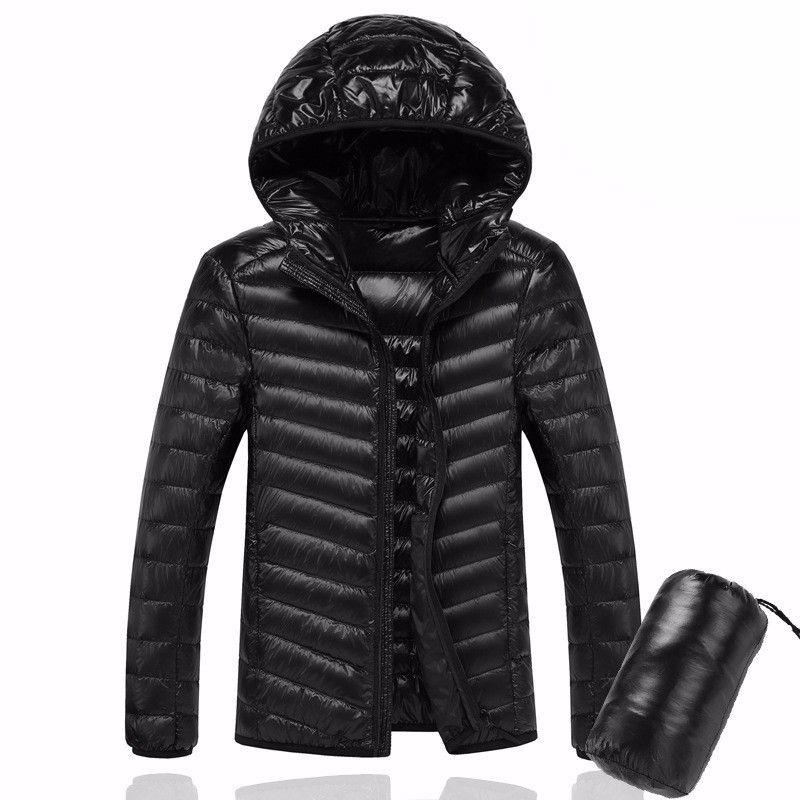 2018 Men Hooded ultraLight Wihite Duck Down Jacket Warm Jacket Line Portable Package men pack jacket