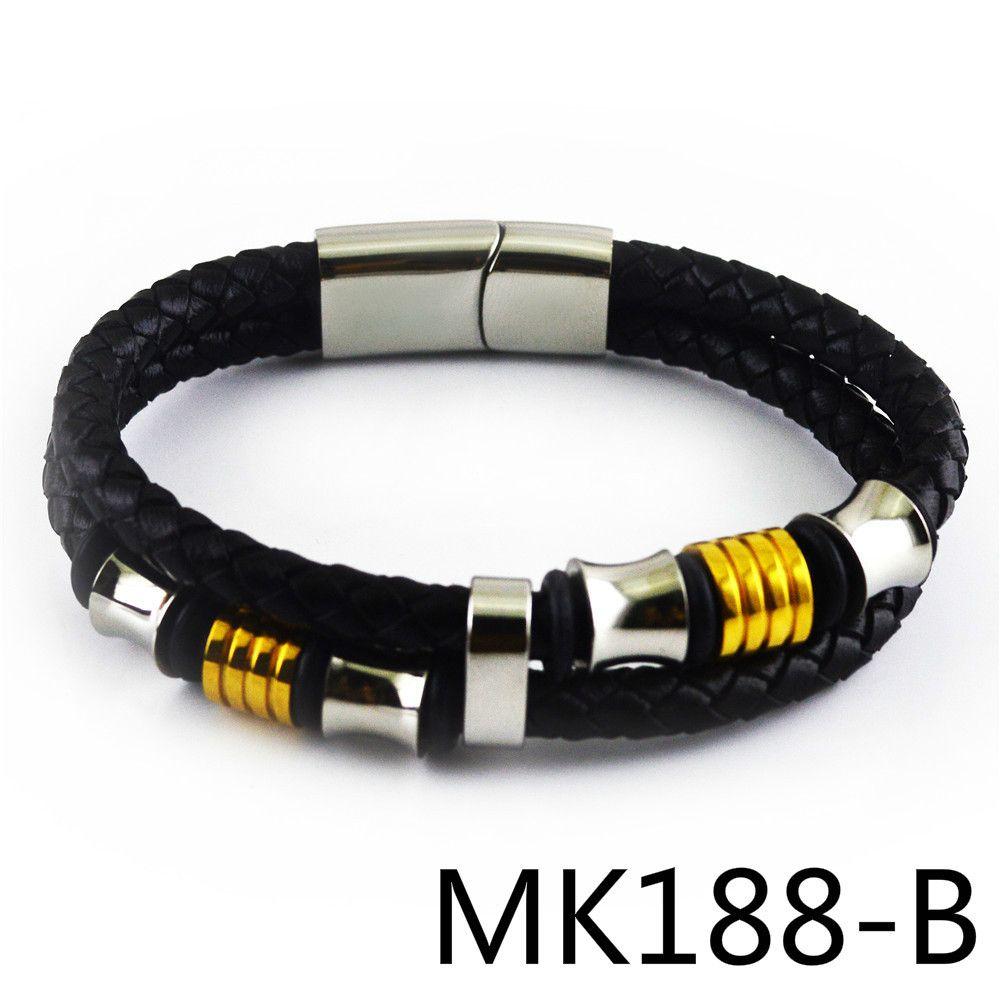 Foreign Trade Titanium Steel Genuine Leather Bracelet Man PUNK Hand Decorate European Trend stonery Product MK188