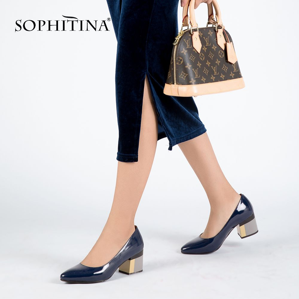 SOPHITINA Brand <font><b>Shoes</b></font> Thick Heel Ladies Pumps Patent Leather Pointed Toe Colorful Square Heels Party Handmade <font><b>Shoes</b></font> Women D13
