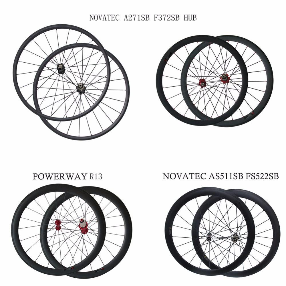 700C 25mm wide Powerway R13 carbon bike wheelset 24/38/50/60/88mm depth clincher tubular road wheels novatec AS511SB FS522SB hub