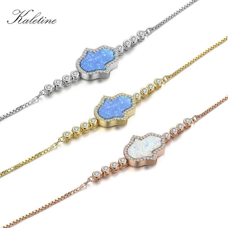 KALETINE Véritable 925 Sterling Argent Bracelets Hamsa Main de Fatima Bleu Blanc Opale VADROUILLE Eye Charm Bracelets Réglable KLTB029