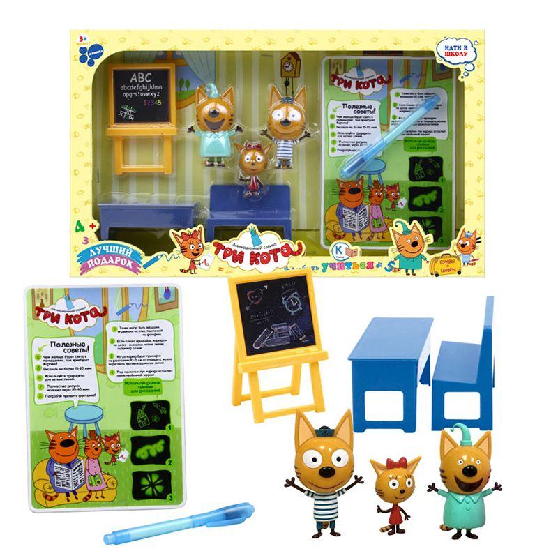 Russian Cartoon Three Kittens Happy Kittens Cat Classroom Toys Animals Scene Night light blackboard Toy for Kids Children Gifts
