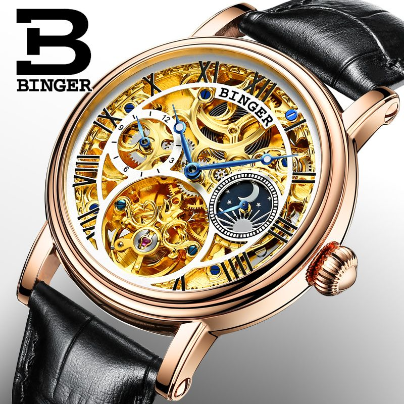 Switzerland BINGER watches men luxury brand Tourbillon Relogio Masculino water resistant Mechanical Wristwatches B-1171-2