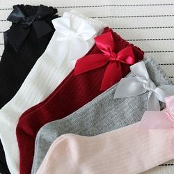 New Kids Socks Toddlers Girls Big Bow Knee High Long Soft Cotton Lace baby Socks Kids kniekousen meisje#YY