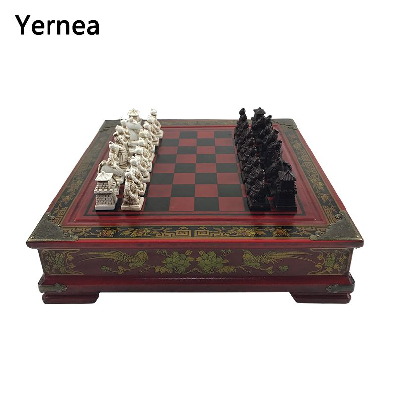 Vintage Collection Chess Chinese Terracotta Warriors Chess Wood Carving Resin Chessman Christmas Birthday Premium Gifts Yernea