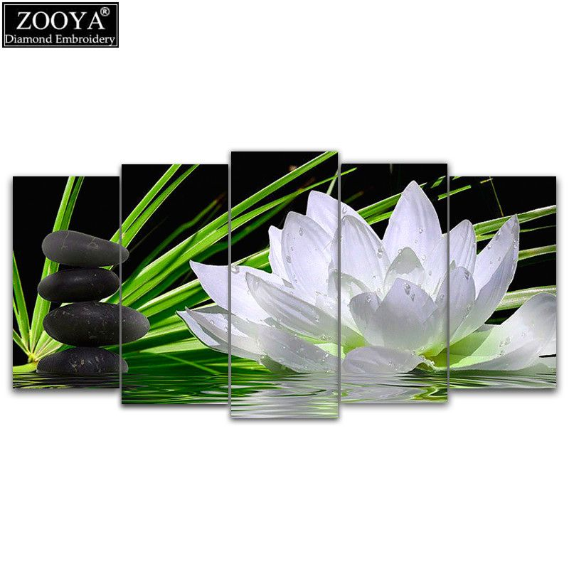 ZOOYA 5d diy Diamond embroidery lotus&stones 5pcs Multi-picture Combination diamond painting Cross Stitch Rhinestone mosaic