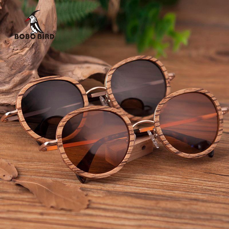 BOBO BIRD Wholesale Zebra Wooden Bamboo Polaroid Sunglasses Polaroid Sun Glasses Ladies Eyewear in Wood box Customize Logo