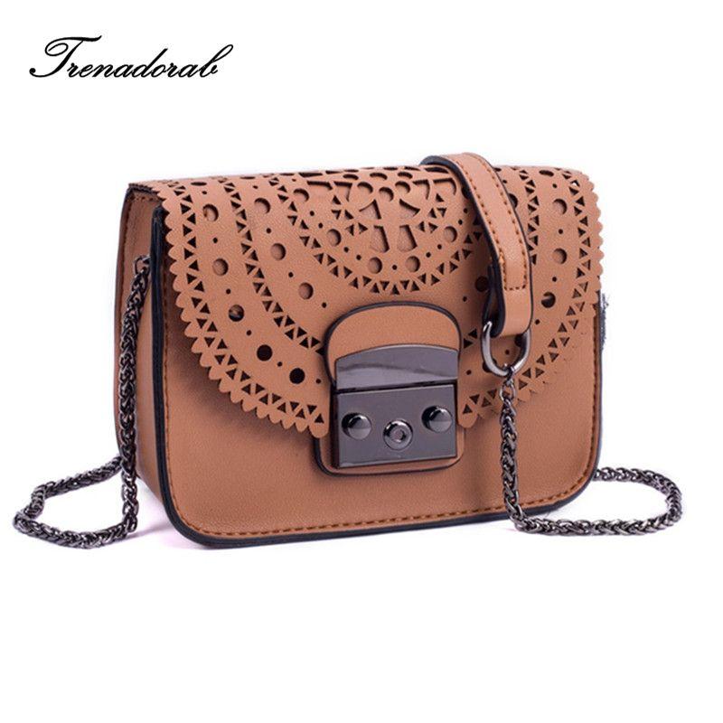 Trenadorab 2018 Fashion small bag Hollow Out Women Crossbody Bag Soft Leather handbags Women Clutch Purse Brand Shoulder Bags