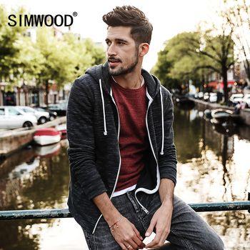 Simwood 2018 Весна Новинка; худи куртка Для мужчин Повседневное Кофты на молнии карман-кенгуру Slim Fit плюс Размеры брендовая одежда wk017001